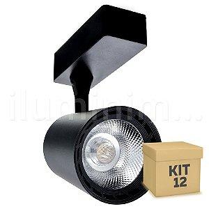 Kit 12 Spot LED Cob 12w 3500K para Trilho Eletrificado Preto