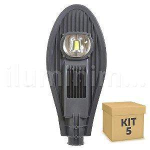 Kit 5 Luminária Pública Super LED 50w Branco Frio