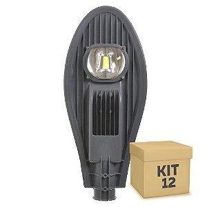 Kit 12 Luminária Pública Super LED 50w Branco Frio