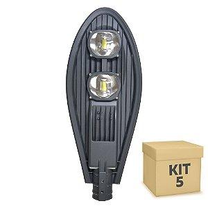 Kit 5 Luminária Pública Super LED 100w Branco Frio