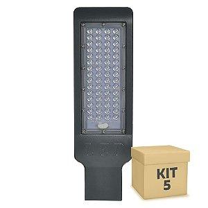 Kit 5 Luminária Pública LED SMD 50W Branco Frio