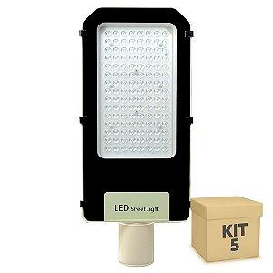Kit 5 Luminária Pública Ultra LED SMD 100w Branco Frio