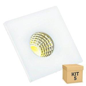 Kit 5 Mini Spot LED COB 3W Embutir Quadrado