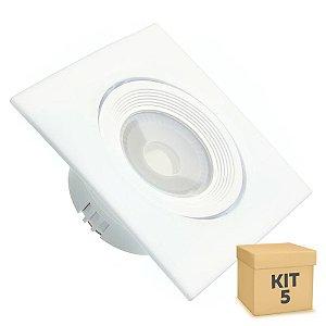 Kit 5 Spot LED SMD 3W Quadrado Branco Quente