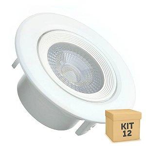 Kit 12 Spot LED SMD 5W Redondo Branco Quente