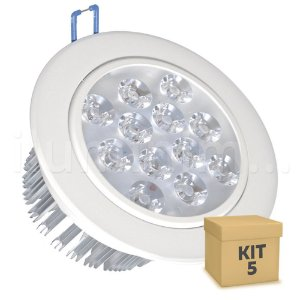 Kit 5 Spot Dicróica 12w LED Direcionável Corpo Branco