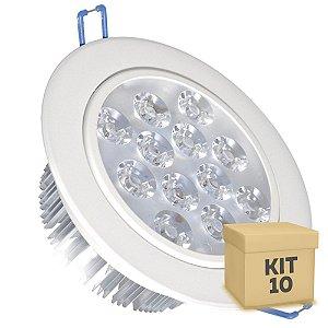 Kit 10 Spot Dicróica 12w LED Direcionável Corpo Branco