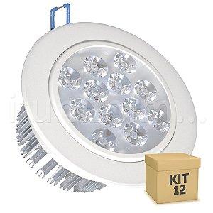 Kit 12 Spot Dicróica 12w LED Direcionável Corpo Branco