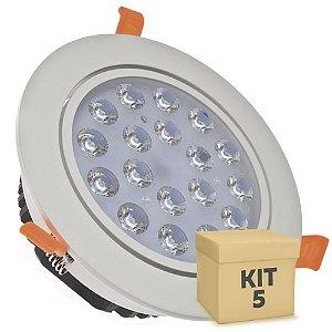 Kit 5 Spot Dicróica 18w LED Direcionável Corpo Branco
