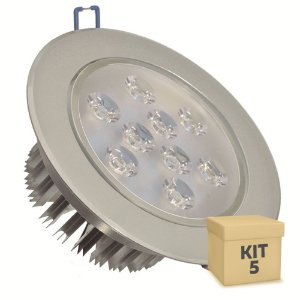 Kit 5 Spot Dicróica 9w LED Direcionável Corpo Aluminio