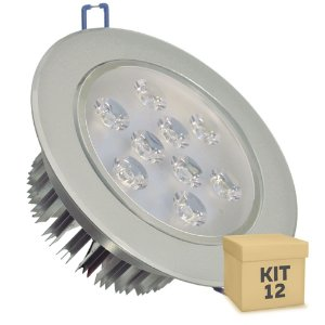 Kit 12 Spot Dicróica 9w LED Direcionável Corpo Aluminio