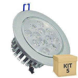 Kit 5 Spot Dicróica 12w LED Direcionável Corpo Aluminio