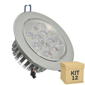 Kit 12 Spot Dicróica 12w LED Direcionável Corpo Aluminio