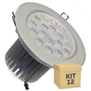 Kit 12 Spot Dicróica 18w LED Direcionável Corpo Aluminio