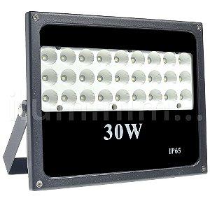 Refletor Holofote MicroLED 30W Multifocal Branco Frio Preto
