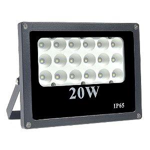 Refletor Holofote MicroLED 20W Multifocal Branco Frio Preto