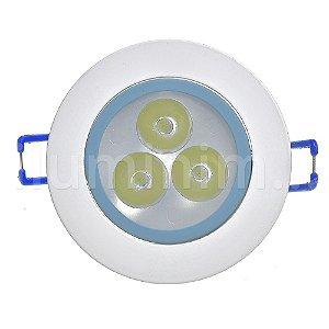Spot Dicróica 3w LED Direcionável Corpo Branco e Azul Bicolor