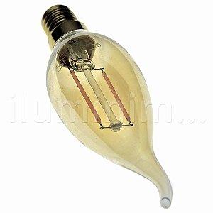 Lampada LED Vela Vintage Chama E14 4W Bivolt Branco Quente | Inmetro