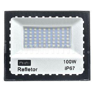 Mini Refletor Holofote LED SMD 100W Branco Frio IP67