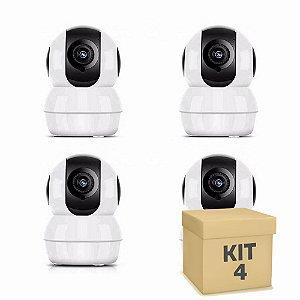 Kit 4 Câmera Segurança de LED IP Infravermelho 720p HD Wireless Wifi Audio