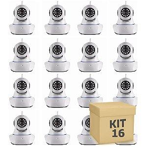 Kit 16 Câmera Segurança de LED IP Infravermelho 720p HD Wireless Wifi Audio