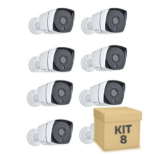 Kit 8 Câmera Segurança de LED IP Bullet Infravermelho PoE
