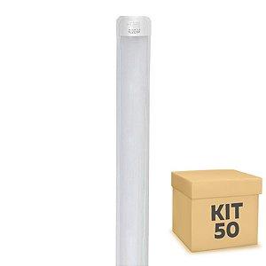 Kit 50 Tubular LED Sobrepor Completa 75W 2,40m Branco Frio | Inmetro