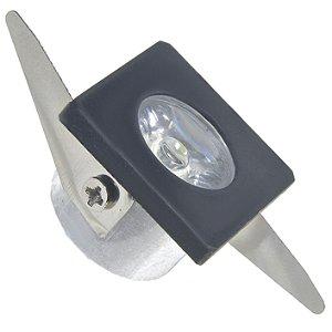 Spot LED COB 1W Quadrado Embutir Branco Frio Preto