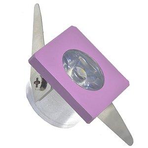 Spot LED COB 1W Quadrado Embutir Branco Frio Rosa
