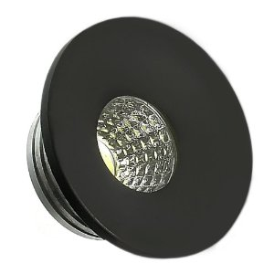 Mini Spot LED COB 3W Embutir Redondo Preto