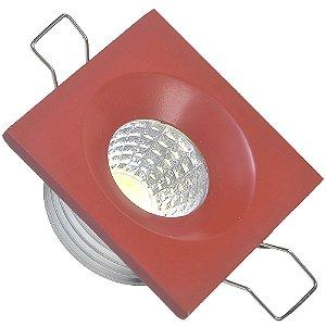 Mini Spot LED COB 3W Embutir Quadrado Vermelho