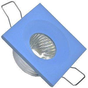 Mini Spot LED COB 3W Embutir Quadrado Azul