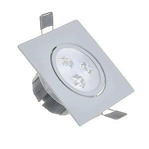 Spot LED 3W Dicróica Embutir Base Cinza