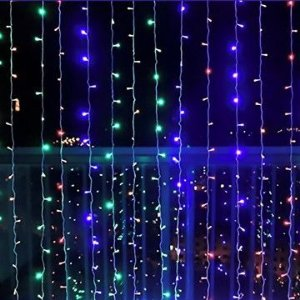 Cortina de LED 300 LEDs Cascata Multifunções RGB Colorida 110V