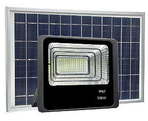 Refletor LED Solar 200W 80 Leds Auto Recarregável