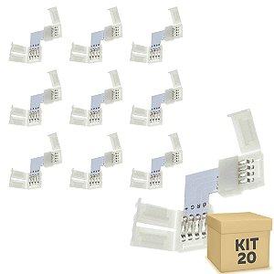 Kit 20 Emenda para Fita LED 3528 RGB em L - 8mm