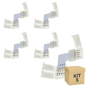Kit 5 Emenda para Fita LED 5050 RGB em L - 10mm