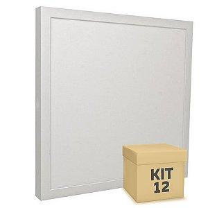 Kit 12 Luminária Plafon 30x30 32W LED Sobrepor Branco Frio