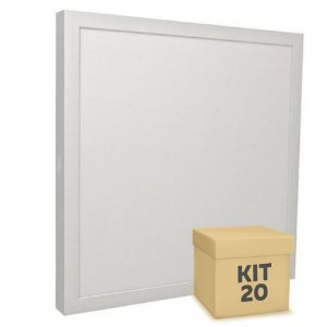 Kit 20 Luminária Plafon 30x30 32W LED Sobrepor Branco Frio
