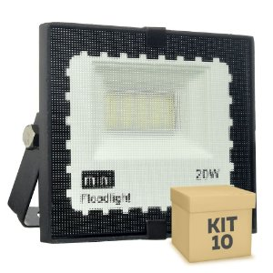 Kit 10 Mini Refletor Holofote LED SMD 20W Branco Frio IP67