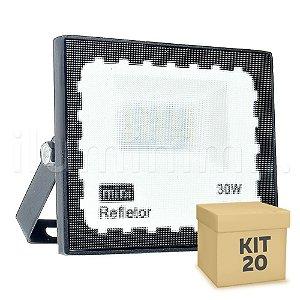 Kit 20 Mini Refletor Holofote LED SMD 30W Branco Frio IP67