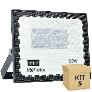 Kit 5 Mini Refletor Holofote LED SMD 50W Branco Frio IP67