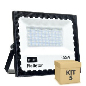 KIT 5 Mini Refletor Holofote LED SMD 100W Branco Frio IP67