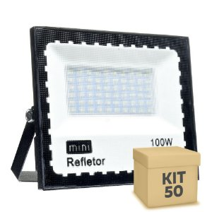 KIT 50 Mini Refletor Holofote LED SMD 100W Branco Frio IP67