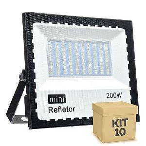 Kit 10 Mini Refletor Holofote LED SMD 200W Branco Frio IP67