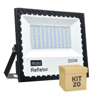 Kit 20 Mini Refletor Holofote LED SMD 200W Branco Frio IP67