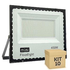 Kit 10 Mini Refletor Holofote LED SMD 400W Branco Frio IP67
