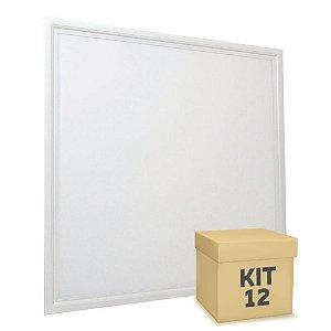 Kit 12 Luminária Plafon 62x62 48W LED Embutir Branco Frio Borda Branca