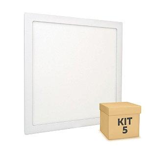 Kit 5 Luminária Plafon 40x40 36W LED Embutir Branco Frio Borda Branca