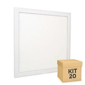 Kit 20 Luminária Plafon 40x40 36W LED Embutir Branco Frio Borda Branca